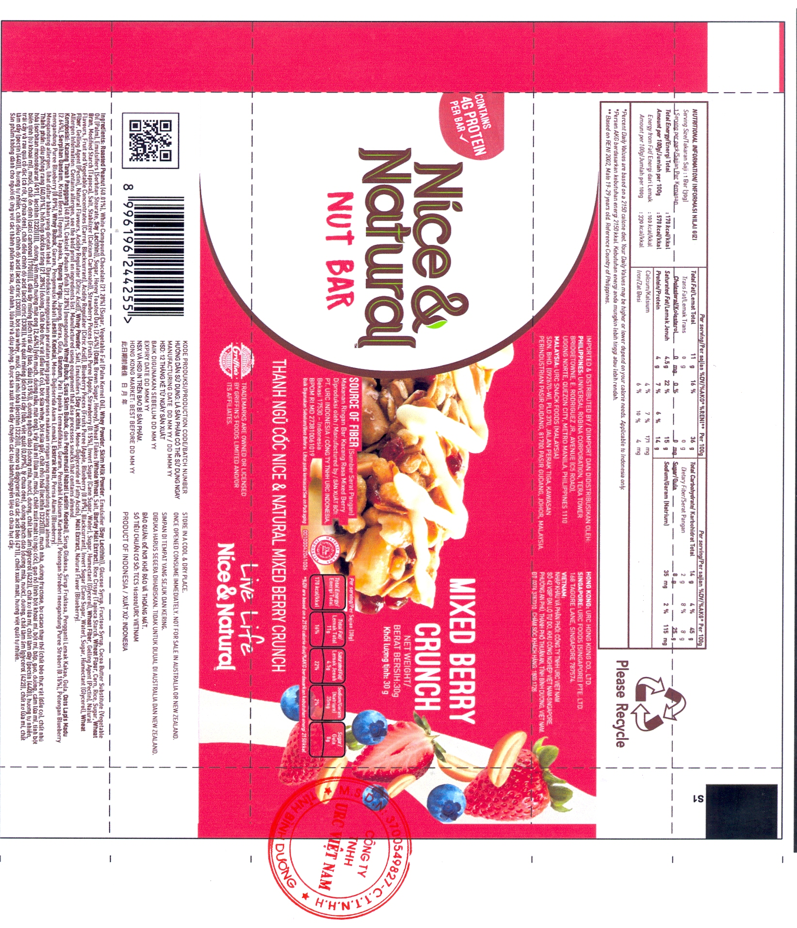 PRODUCT ANNOUNCEMENT NICE & NATURAL NUT BAR MIXED BERRY CRUNCH
