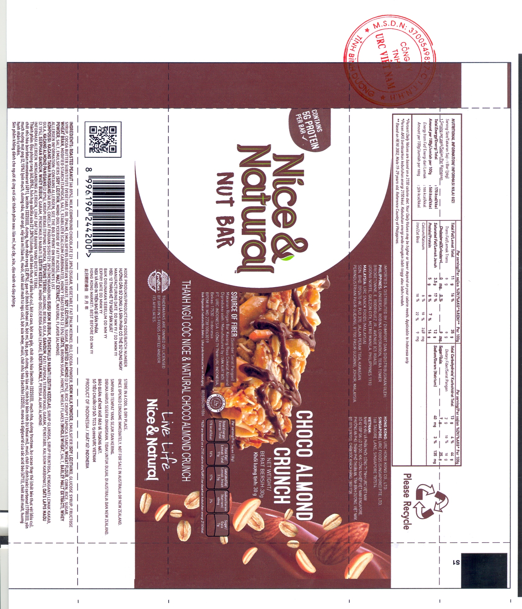 PRODUCT ANNOUNCEMENT NICE & NATURAL NUT BAR CHOCO ALMOND CRUNCH