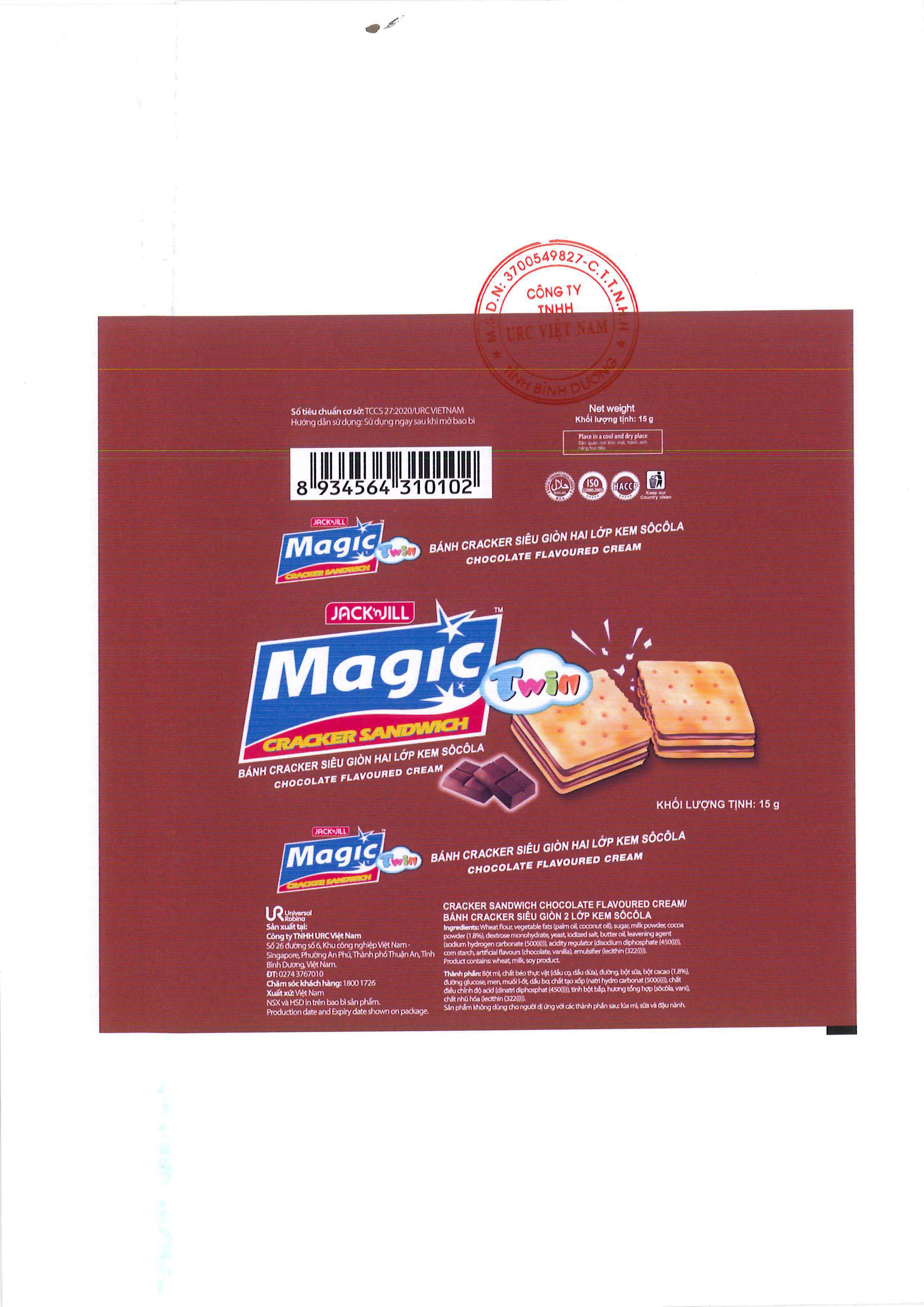 PRODUCT ANNOUNCEMENT MAGIC TWIN CRACKER SANDWICH CHOCOLATE FLAVOURED CREAM